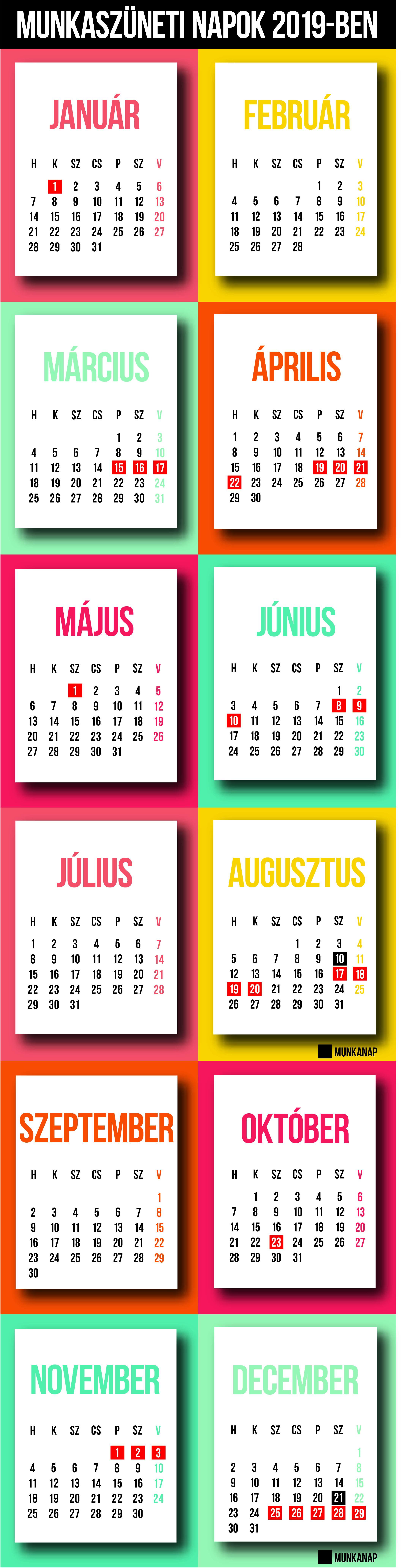 2019es naptár Jó hír a karácsony kapcsán! Ezek a munkaszüneti napok, hosszú  2019es naptár
