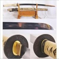 Kuźnia mieczy samurajskich Katana JAPOŃSKA HONSANMAI SAYA Z MUSZLI R1136