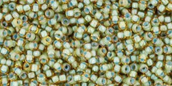 TOHO Round 15o-952 Inside-Color Rainbow Lt Topaz - Sea Foam Lined - 5 g