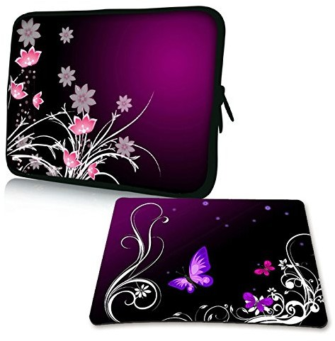 Pedea Design pokrowiec na notebooka z ekranem o przekątnej do 17,3 cala (43,9 cm) z dołączoną podkładką pod mysz Design, motyw Purple Butterfly (fioletowy motyl) SET019-66060723