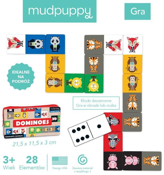 Mudpuppy Domino w podróżnym opakowaniu Geometryczne Zwierzęta