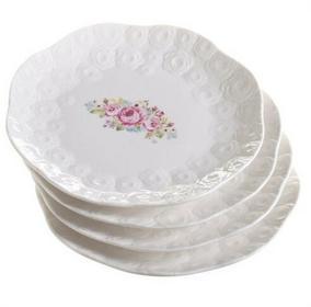 Dekoria Zestaw talerzy deserowych Lovely roses porcelana 4szt, śr.19cm