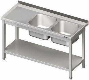 Stalgast Stół ze zlewem dwukomorowym z półką W1400xD600xH850 mm(980826140)