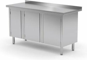 Polgast Stół nierdzewny przyścienny szafka z drzwiami na zawiasach 1400x600x850