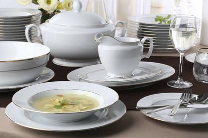 Chodzież Zestaw obiadowy dla 12 osób porcelana MariaPaula Złota Linia | Darmowa