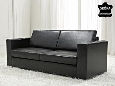 Beliani Skórzana sofa trzyosobowa czarna - kanapa - HELSINKI c
