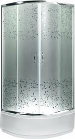 Novoterm Kerra Malwa 90x90 profil chrom szkło mrożone z dekorem + brodzik