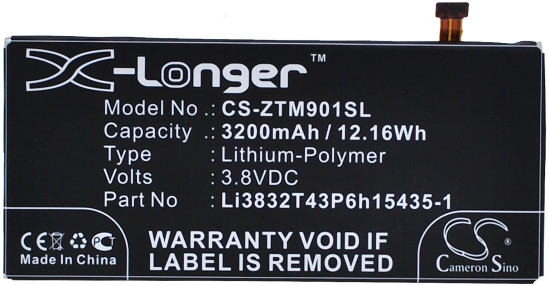 ZTE Grand M901C / Li3832T43P6h15435-1 3200mAh 12.16Wh Li-Polymer 3.8V (Cameron S
