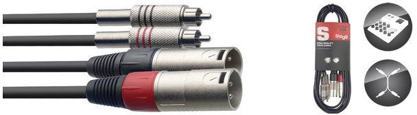 STAGG STC3CMXM - podwójny kabel połączeniowy 3m