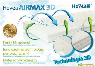 Hevea Materac piankowy AIRMAX 3D AEGIS 120x60