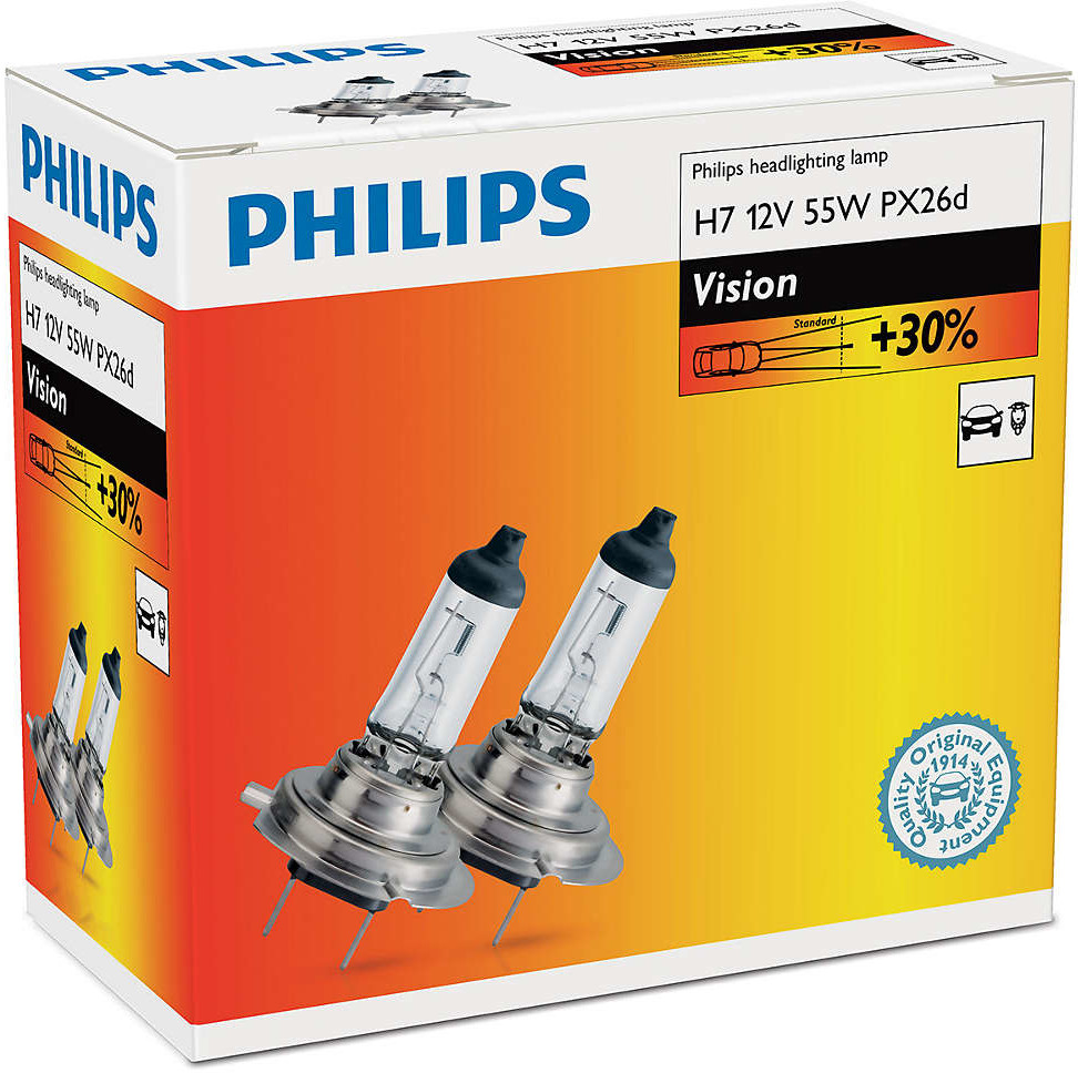Philips H7 Vision 12V 55W PX26d - 2 sztuki