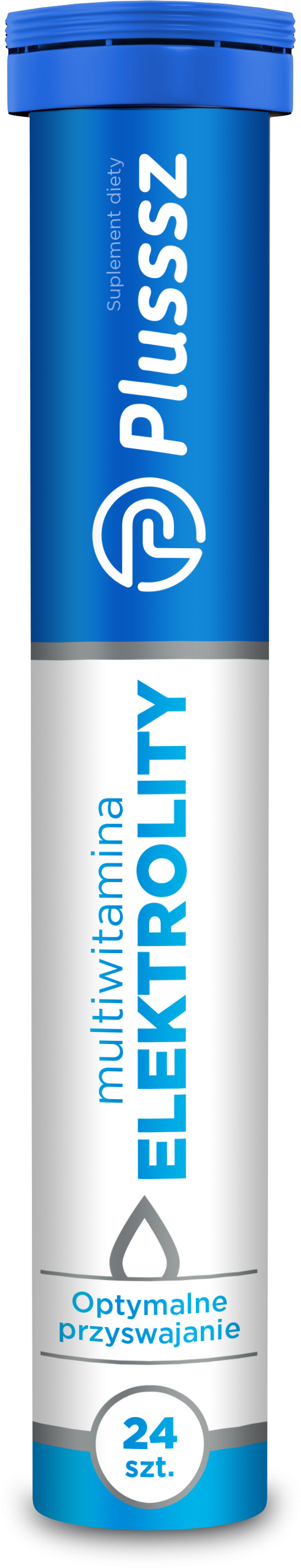 Plusssz Elektrolity uzupełnienie niedoboru witamin i minerałów, 24 tabletki musujace