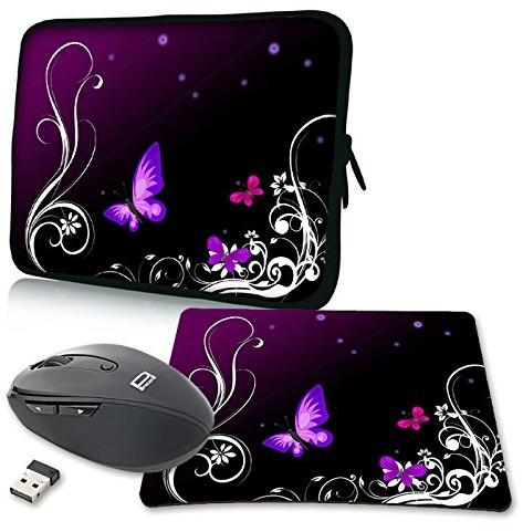 Pedea Design pokrowiec na notebooka z ekranem o przekątnej do 17,3 cala (43,9 cm) z dołączoną podkładką pod mysz i myszą bezprzewodową, motyw Purple Butterfly (fioletowy motyl) 4048466918176