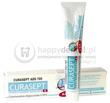 Curaden CURASEPT ADS 705 75ml - pasta do zębów w żelu z chlorheksydyną 0.05% i d