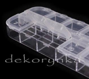 Pudełko na koraliki i półfabrykaty - typu kasetka z 12 pokrywkami