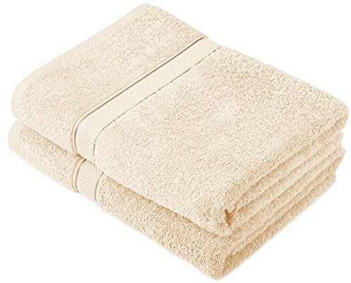 Pinzon by Amazon komplet ręczników z bawełny egipskiej, 2 ręczniki kąpielowe, kolor kremowy