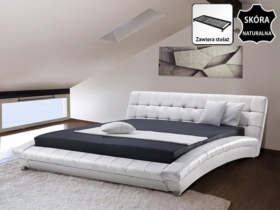 Beliani Nowoczesne Skórzane łóżko 180x200 Cm Lille Biale Bialy