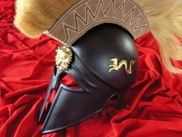 Płatnerze hiszpańscy HISTORYCZNY HEŁM GRECKIEGO HOPLITY Z GRZEBIENIEM