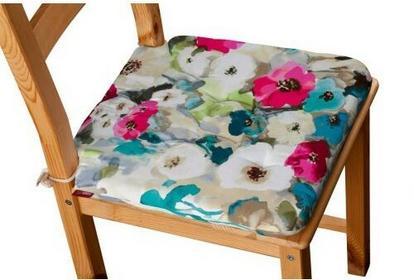 Dekoria Siedzisko Olek na krzesło kolorowe kwiaty z przewagą niebieskiego 42x41x3,5cm Monet