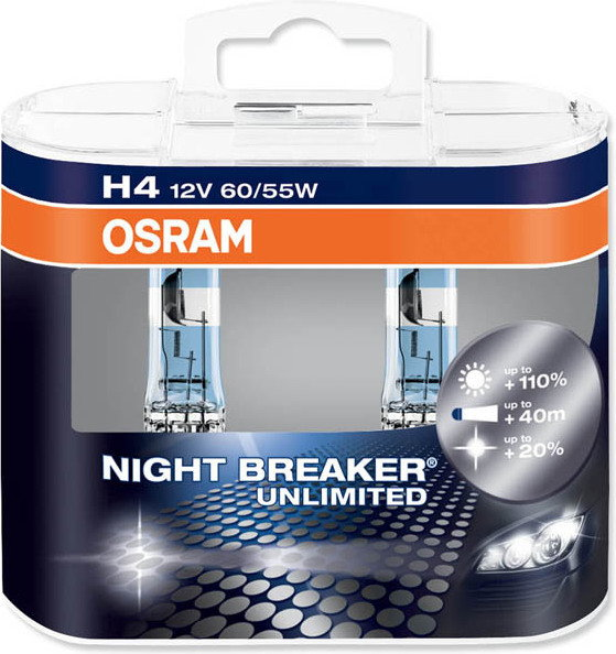 OSRAM 2x H4 NightBreaker UNLIMITED + 110% światła duo pack