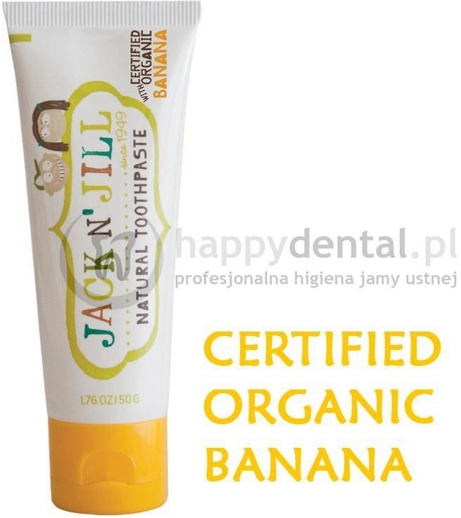 Jack NJill JACK-N-JILL organiczny BANAN + Xylitol 50g - naturalna pasta do zębów