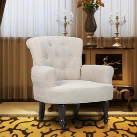 vidaXL Fotel francuski z podłokietnikami, kremowy
