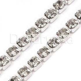 Taśma biżuteryjna Ozdobna z cyrkoniami 2.4mm 0.5m srebrna