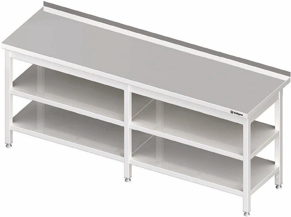 Stalgast Stół przyścienny z dwoma półkami 2400x600x850 mm 980076240