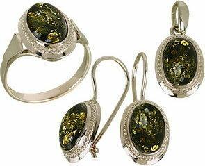 Tyfanit Srebrny komplet z bursztynem zielonym S71z