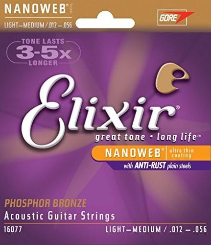 Elixir 16077 struny do gitary akustycznej, 6 strun, z owijką Nanoweb z brązu z domieszką fosforu, Light Medium E16077