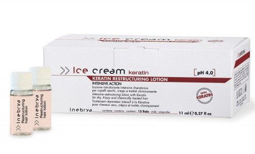 Inebrya Ice Cream Keratin restrukturyzujący lotion do włosów, ampułki 12 x 11ml