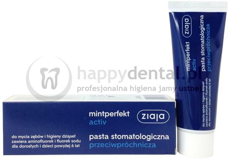 Ziaja MINTPERFECT ACTIV pasta 75ml - przeciwpróchnicza pasta do zębów zawierając