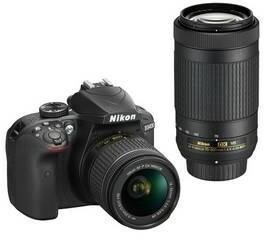 Nikon D3400 + AF-P 18-55 VR + 70-300 VR czarny