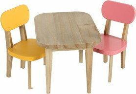 MAILEG Stolik z krzesełkami żółty/różowy 11-3125-00