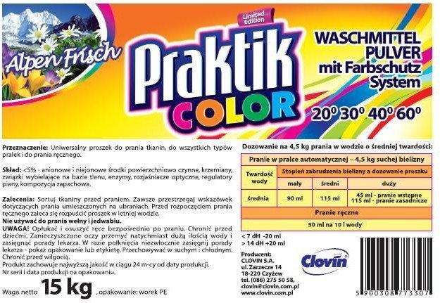 Clovin Praktik COLOR -Proszek do prania - 15 kg