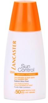 Lancaster Sun Control rozświetlający przeciwzmarszczkowy fluid do opalania SPF50+ Sensitive Skin 30 ml