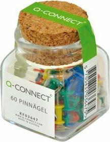 Q-Connect PBS Pinezki beczułki w szklanym słoiku mix kolorow 60 sztuk PB043