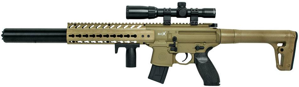 Sig Sauer Karabinek MCX 4,5 mm - FDE z lunetą 1-4X24 (AIR-MCX-SCOPE-177-88G-30-FDE)