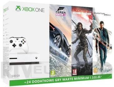 Microsoft Xbox One S 500GB Biały + Quantum Break + Rise of the Tomb Rider + Forza Horizon 3 + 6XBL