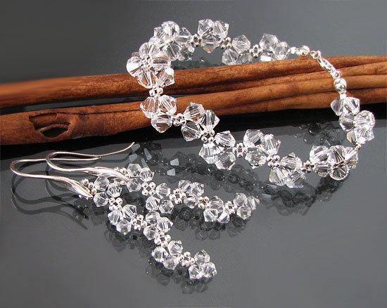 Radość i pokój - komplet srebro z kryształami Swarovskiego
