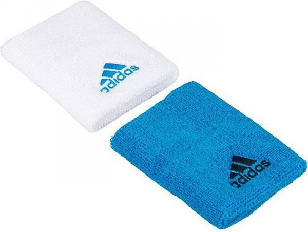 adidas opaska tenisowa na nadgarstek 2szt. F85361 biała i niebieska 29605