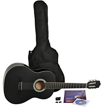 Navarra STARTER SET zestaw startowy: gitara akustyczna koncertowa 4/4, czarna z kremowymi krawędziami pudła, lekko wyściełany futerał z paskami do noszenia na plecach, podręcznik z wieloma przebojami  NV12PK