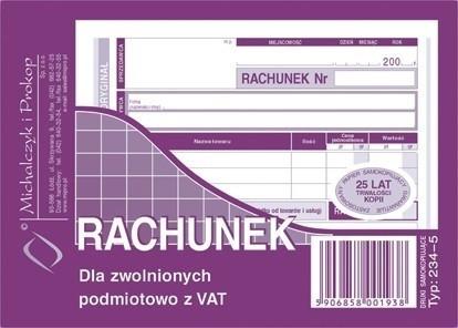 Michalczyk&Prokop RACHUNEK A6 DLA ZWOLNIONYCH Z VAT POZIOM 234-5
