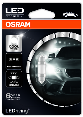 OSRAM (C5W)** 36mm Cool White 6000 K 12V 0,8W SV8.5-8