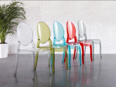 Beliani Krzeslo przezroczysto-czerwone - krzeslo do jadalni, kuchni - MERTON cze