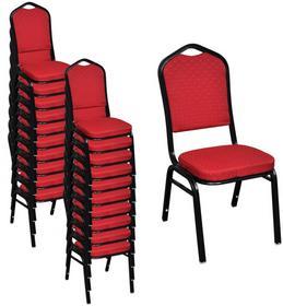 vidaXL Czerwone tapicerowane i sztaplowane krzesło do jadalni 20 szt.