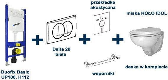 Geberit Zestaw podtynkowy WC stelaż DUOFIX BASIC (kpl. wsporniki + mata) + przyc