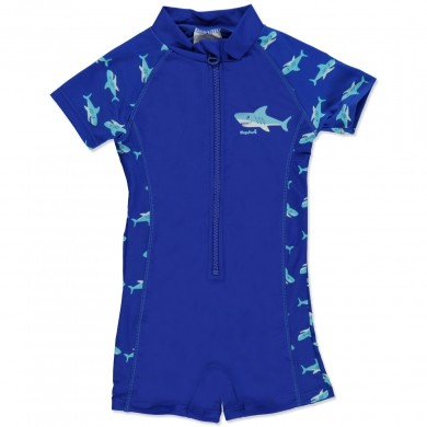 PLAYSHOES Boys Jednoczęściowy strój kąpielowy Rekin kolor marine 460121