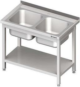 Stalgast Stół ze zlewem dwukomorowym z półką W1000xD600xH850 mm (980816100)