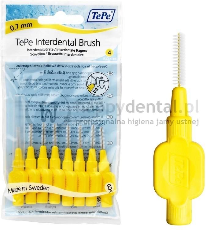 TePe ID Original (0.7mm) żółte 8szt. - zestaw szczoteczek międzyzębowych (szczot